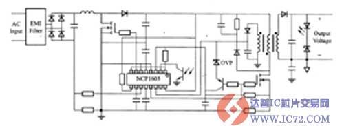 采用ncp1603设计的非同步工作模式ac/dc适配器电路图