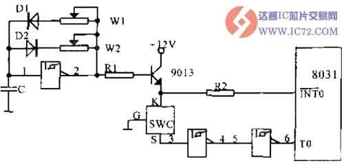 数字式温度传感器的外加电方式接口电路图
