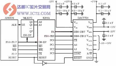 dac7724与51单片机的接口电路