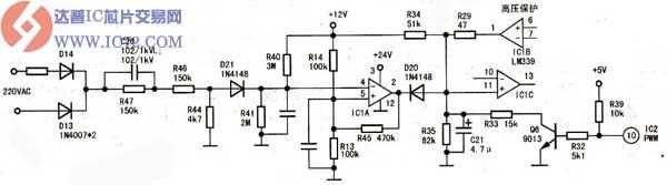 """故障现象:一台顺柏sc-20B2型电磁炉、上电开机放锅后,有时很怏就能加热,有时要等机子发出""""嘀嘀""""报警声大约10次~20次后才能加热。而正常加热后,只要不关机,电磁炉可以持续加热。 分析检修:打开机壳检查,发现主板中几只大功率取样电阻及LM339等均被他人拆焊过,所幸没把电路搞乱,基本能保持原样。 从故障现象分析,该机大部分电路基本正常,估计是某元件性能不良或变值,导致电路误动作。首先用模糊法检测电路中几只高压取样电阻及其对地分压,未见异常;代换IC1(LM399),故障依旧。"""