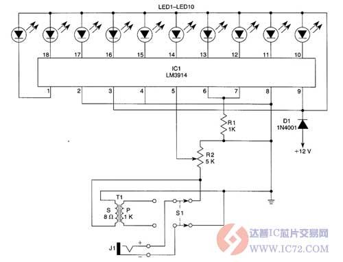 led光柱驱动电路作为一个指标,s1选择直接输入或一个1kω(高阻抗