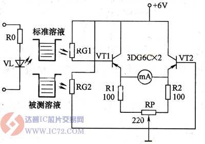光敏电阻器浓度测量仪电路