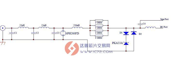 放电电压低 贴片封装,节约空间 更优的成本 符合ROHS标准 测试波形图: SPH200FD  图中蓝色表示电压,比例为22.49,每格2V 这图中显示电压在流涌期间均没有跌落到零,保持有70V左右的电压 普通陶瓷放电管  图中蓝色表示电压,比例为22.49,每格2V 这图中显示电压在流涌期间均维持电压己经在20V左右 典型应用电路: